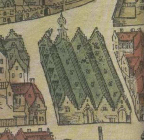 El Tapissierspand, ca. 1565. Fuente: https://commons.wikimedia.org/wiki/File:Het_tapissierspand_te_Antwerpen_(Detail_uit_het_stadsplan_van_Virgilius_Bononiensis,_ca_1565).PNG