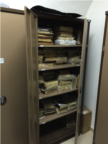 Picture 3. Manuscripts kept inside iron storages in the Budeiri Library