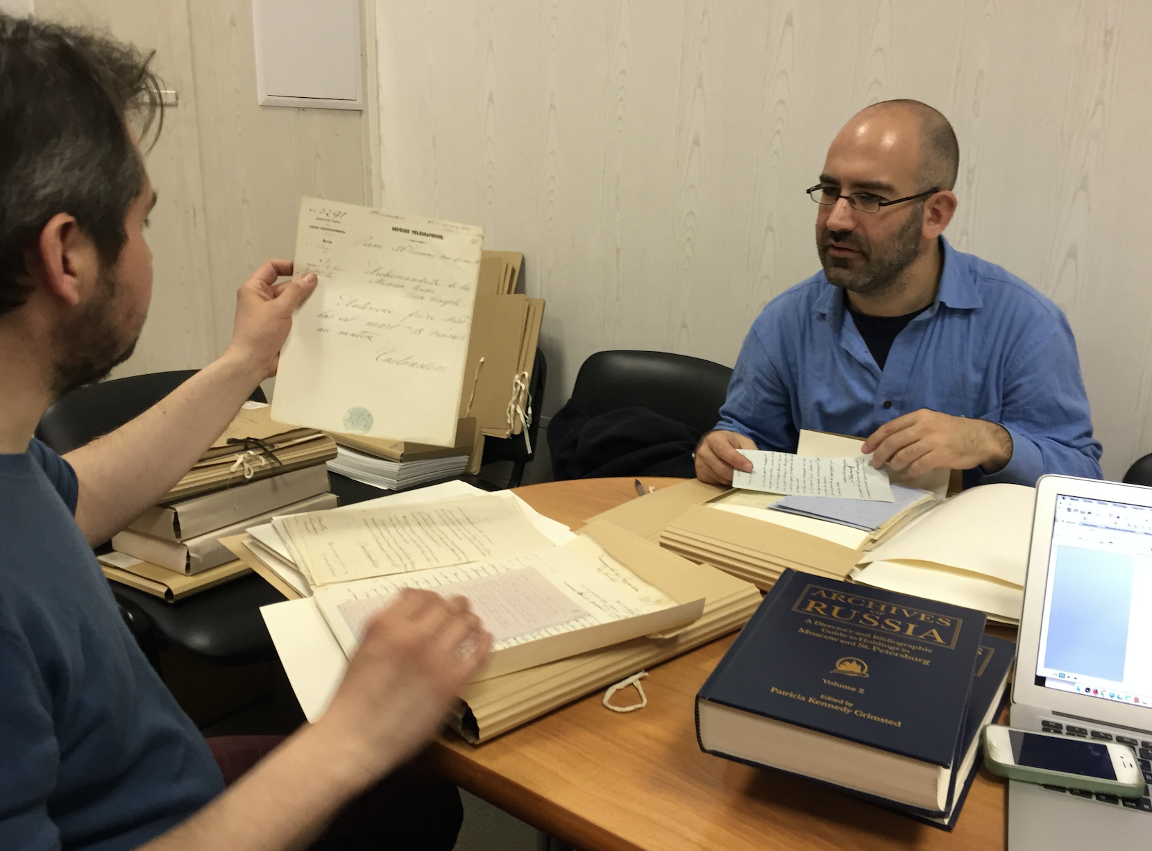Image 8. Angelos Dalachanis and Yann Potin at work in the Archives of the Saint Petersburg Academy of Sciences