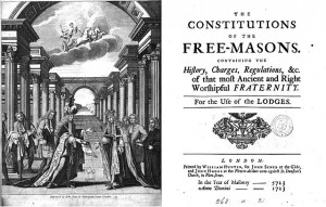 "Titelbild der ""Constitutions of the Free-Masons"", London 1723. (By Christophe Dioux (Own work) [GFDL (http://www.gnu.org/copyleft/fdl.html), CC-BY-SA-3.0 (http://creativecommons.org/licenses/by-sa/3.0/) or Public domain], via Wikimedia Commons)"