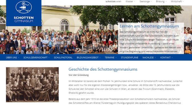 Neue Homepage des Schottengymnasiums mit Schulgeschichte
