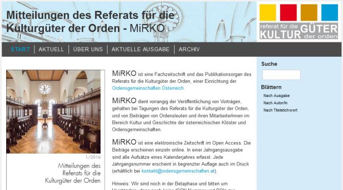 Neue Zeitschrift: Mitteilungen des Referats für die Kulturgüter der Orden (MiRKO)