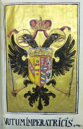 Scr. 43 Nr. 1, fol. 26r: Wappen Maria Theresias (1758).