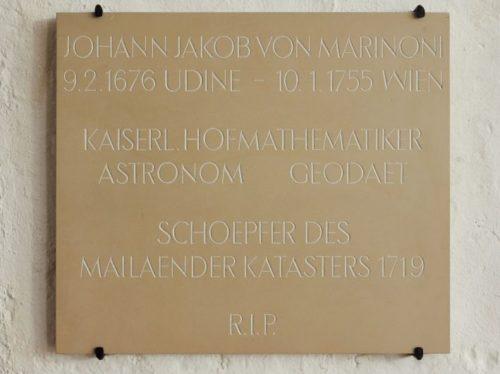 Gedenktafel für Johann Jakob von Marinoni in der Krypta des Schottenstifts