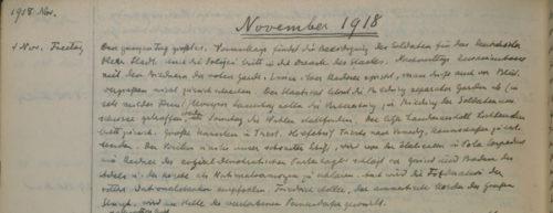 Stiftschronik, 1. November 1918
