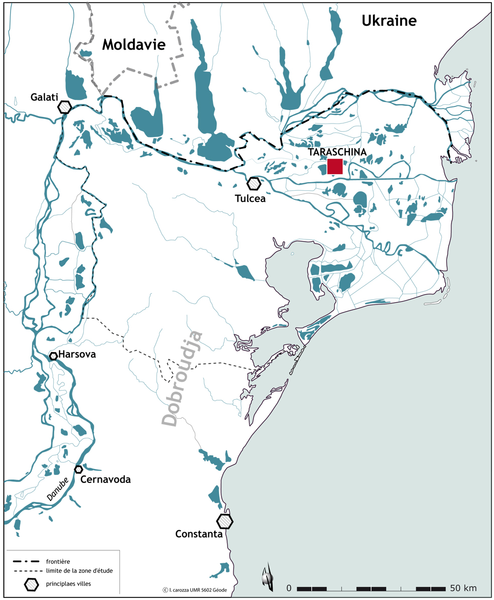 Localisation du site de Taraschina dans le delta du Danube (Roumanie)