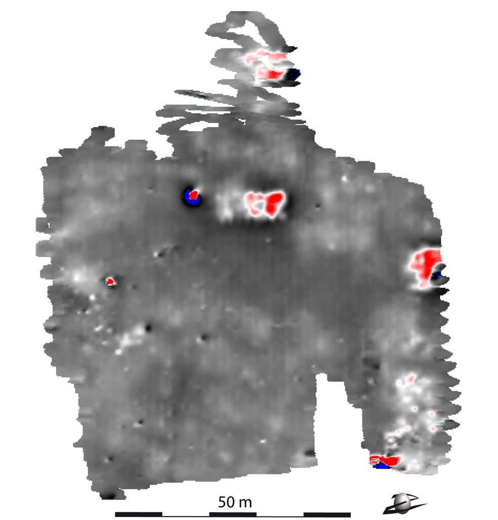 Carte des anomalies magnétiques établies par F. Lévêque (LIENSs) suite aux prospections géophysiques conduites sur le site de Taraschina