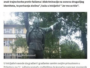Auch die lokalen Medien griffen den Vorfall auf: Hier das Nachrichtenportal N1 (Screenshot http://hr.n1info.com/a52665/Svijet/Regija/Sjecanje-na-102-djevojcice-i-djecaka-ubijenih-u-Prijedoru.html)