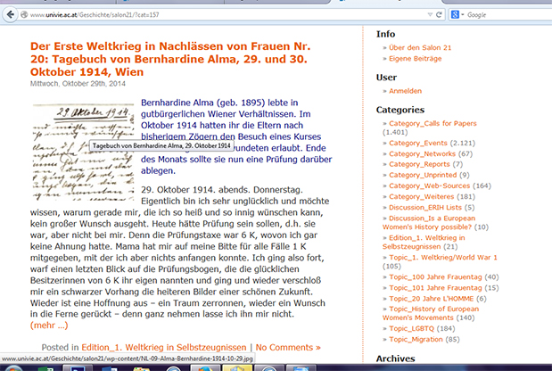 """Screenshot """"Salon 21"""" - Erster Weltkrieg in Frauennachlässen"""