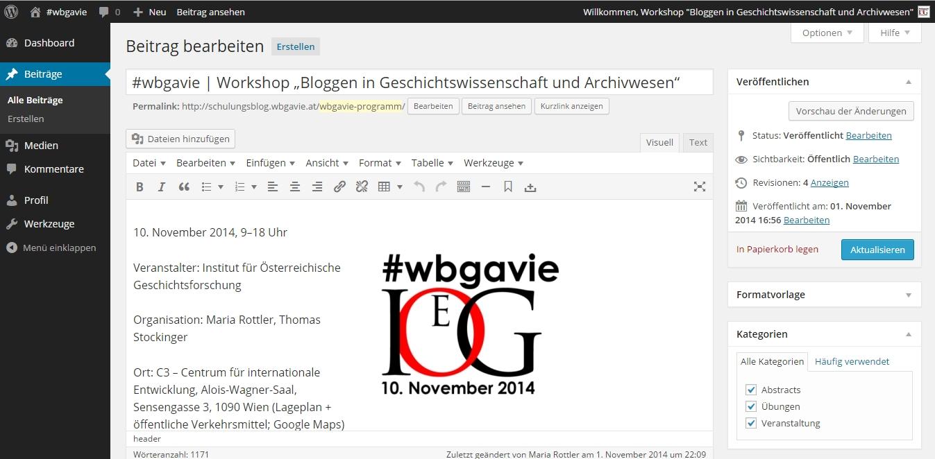 Screenshot Schulungsblog