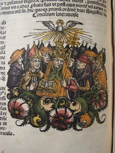Papst und Bischöfe auf dem 4. Laterankonzil (Hartmann Schedel, Liber Chronicarum, Nürnberg 1493, f. 206v). Photo: Christoph Egger.