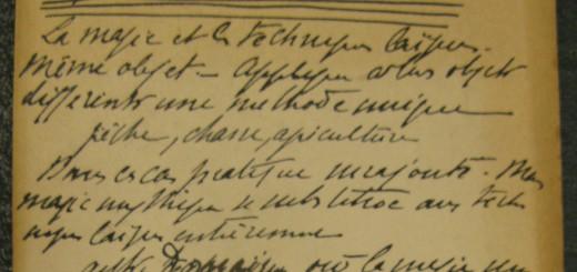 Fiche préparatoire d'Henri Hubert concernant la pratique magique (MNHM)