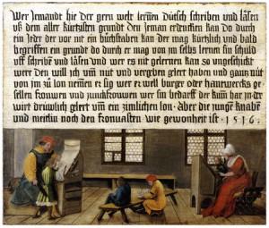 Hans Holbein; d. J. und Ambrosius Holbein, Aushängebild eines Schulmeisters (1516).