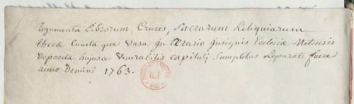 L'ex-libris des Évangiles de Drogon (texte manuscrit) permet de savoir qu'il a été déposé en 1763  à la cathédrale de Metz. Son estampille (tampon rouge) indique qu'il se trouve désormais à la BNF.  BNF, département des manuscrits, Ms. Latin 9388, page de garde verso.