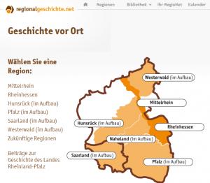 Screenshot von regionalgeschichte.net, einem Onlineportal zur Geschichte einzelner Regionen in den Bundesländern Rheinland-Pfalz und Saarland.