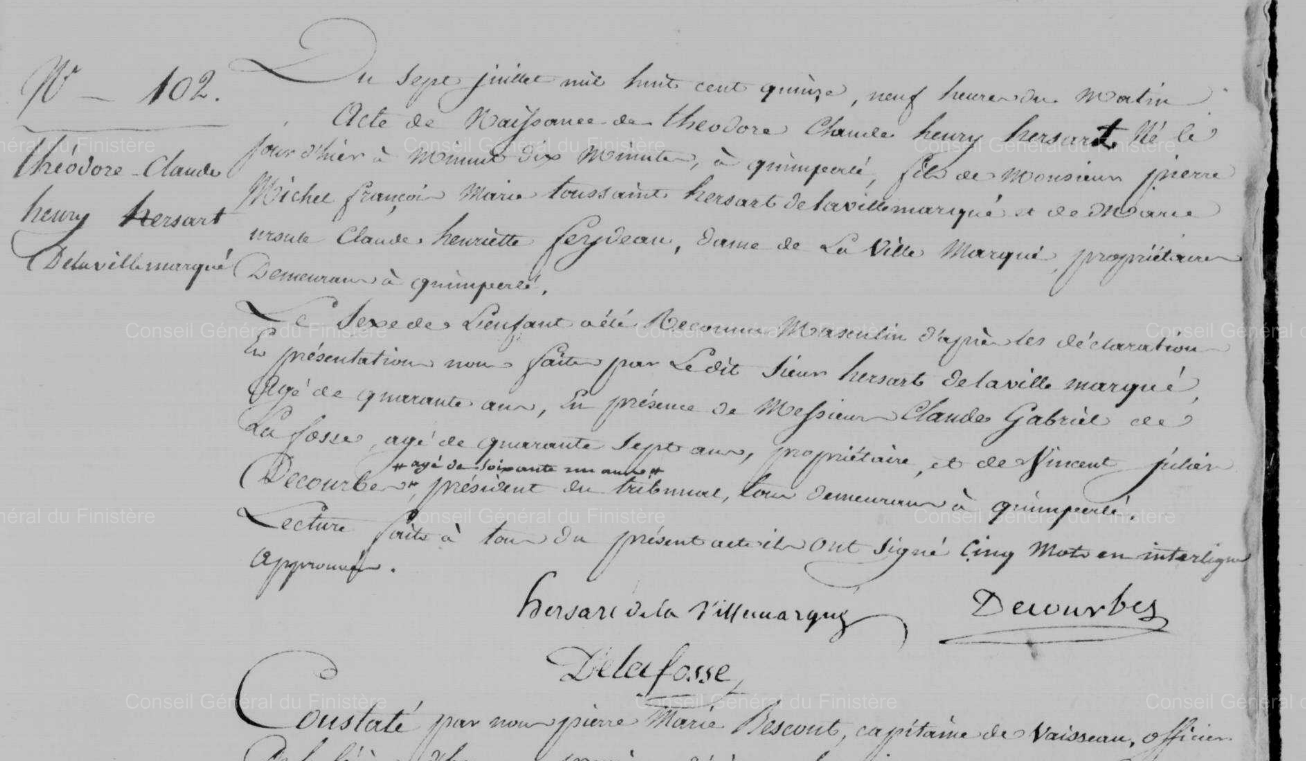 Extrait de l'acte de naissance de Théodore Hersart de la Villemarqué