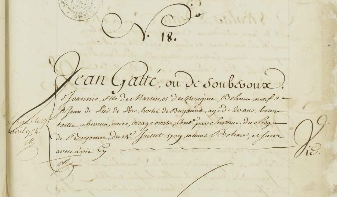 Enregistrement de Jean Gatté au bagne de Brest