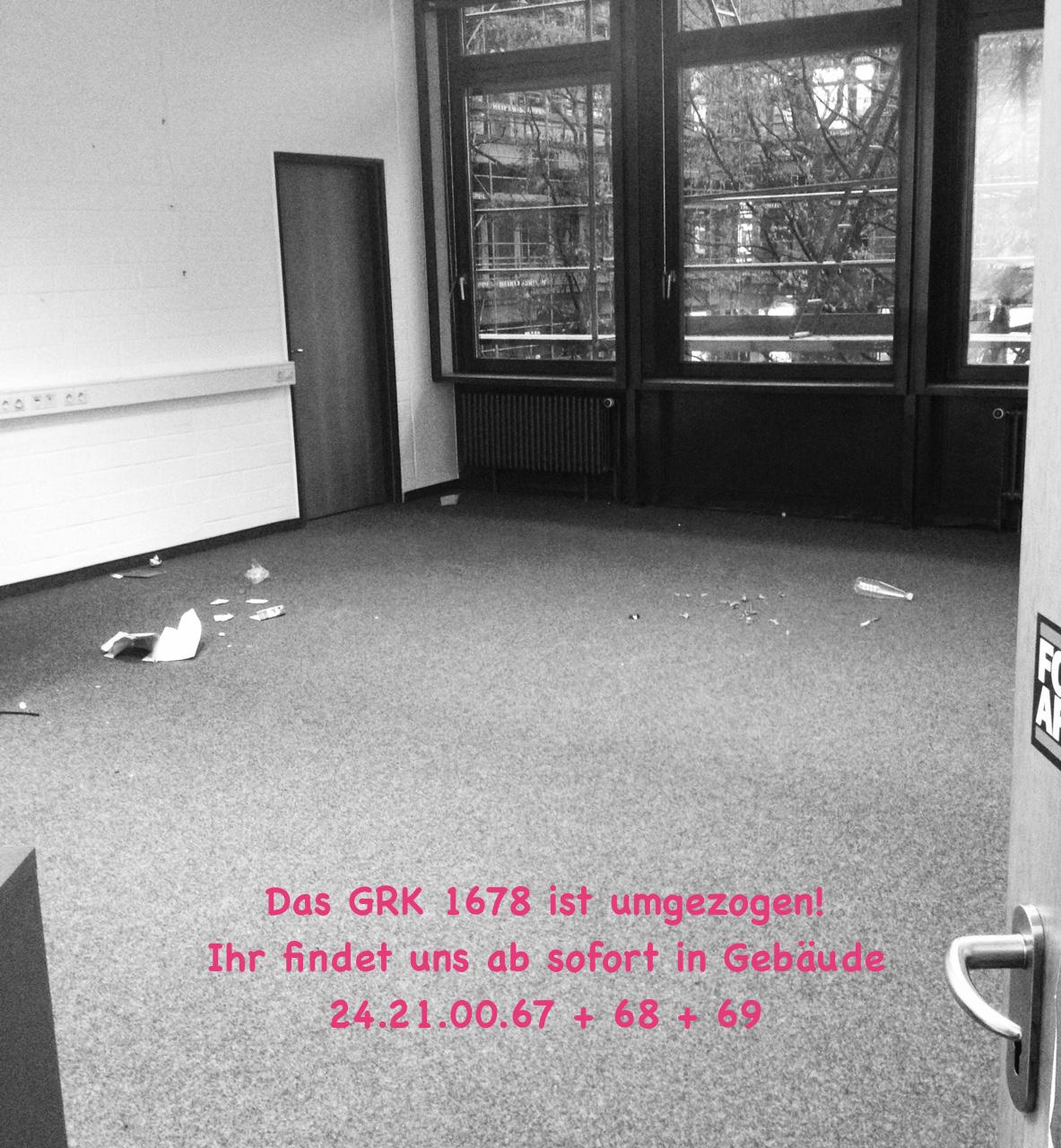 Das Graduiertenkolleg ist umgezogen: Ab sofort sind wir in Gebäude 24.21.00.67 + 68 + 69 zu finden. Im Neuen Jahr wird das Blog wieder mit Berichten gefüttert!