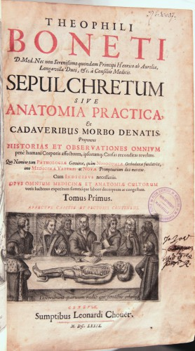 Bonet, Théophile, Sepulchretum sive Anatomia practica ex cadaveribus morbo denatis, Genève, Léonard Chouët, 1679 (Bibliothèque de Médecine-Odontologie Timone, Res 30037)