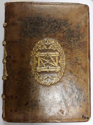 Recueil factice, SCD AMU, BU Lettres et sciences humaines, Res 23729. Reliure ancienne, dont le monogramme n'est pour le moment pas identifié.
