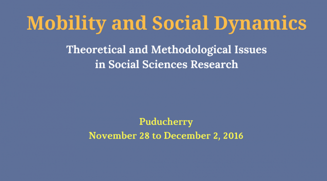 Programme of Social Sciences Winter School in Pondicherry 2016