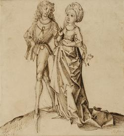 Meister der Berliner Herpin-Handschrift Jugendliches Paar Feder in Braun auf Bütten, um 1490