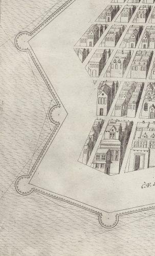 Tote Winkel an Basteien. Für jeden Winkel gibt es einen unterschiedlich großen unbestrichenen Raum. Einige sind nicht nennenswert groß. Quelle: Württembergische Landesbibliothek Stuttgart, Sammlung Nicolai.