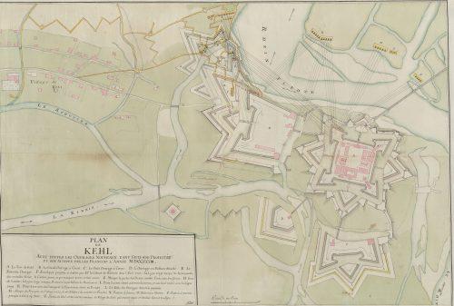 Kehl während der Belagerung 1733. Quelle: Württembergische Landesbibliothek Stuttgart, Sammlung Nicolai.