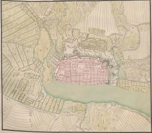 """weiterer """"Plan de Rostock"""". Ohne Zeit und Autor. Quelle: Württembergische Landesbibliothek."""