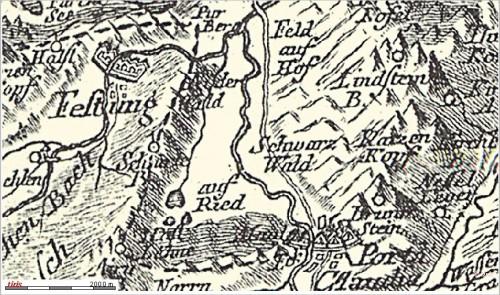 Porta Claudia auf einer Karte von 1765