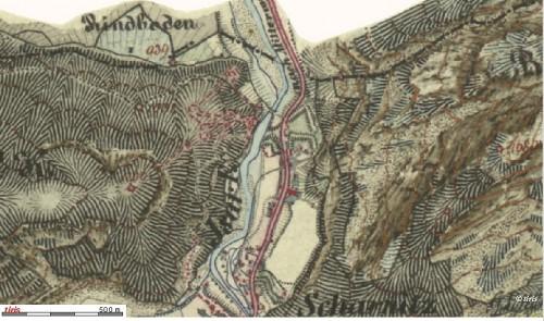 """Porta Claudia und """"Alte Schanze"""" auf einer Karte von 1870"""