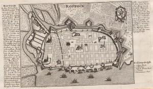 Kommentierter Plan von Rostock (Merian 1653?). Ohne Zeit und Autor. Quelle: Württembergische Landesbibliothek