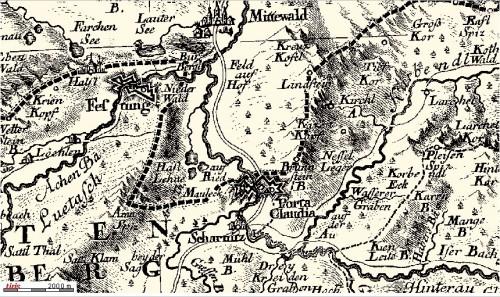 Porta Claudia auf einer Karte von 1774