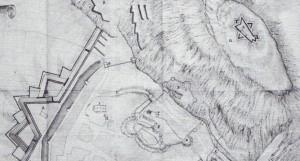 Detail aus einem Plan nach 1704. Die Sternschanze ist oben rechts.