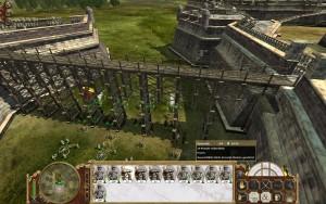 Bei der großen Festung muss ebenso manuell flankiert werden. Die Geschütze sind durch das Ravelin gedeckt.