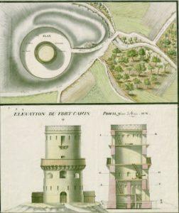 Turm von Fort Camin. Quelle: Collection de ministère de la Défense, département de l'armée Terre, Cote I VM 63. Nach Pradines, fortifications au caire, S. 298.