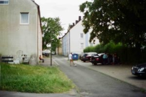 Figure 2: The buildings and neighbourhood street Containing Faysal's family house in Eving (Dortmund, Germany).