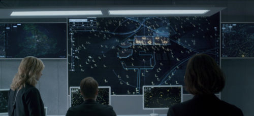 """Screen caption of the Black Mirror episode """"Hated in the nation"""" figuring protagonists watching a screen displaying the bee-drones targets"""