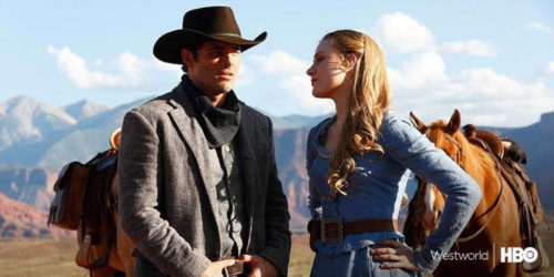 Screen caption of HBO's tv show Westworld, featuring the two main protagonists, one of which is an android