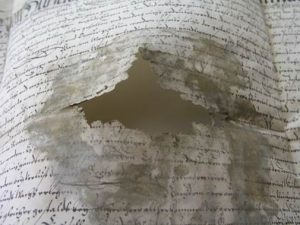 Damage of the parchment