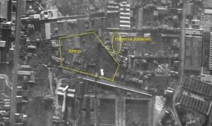Détail de vue aérienne 1943 (Geoportail) - surlignés en jaune : la traverse Abovian et l'emplacement approximatif du  Kemp