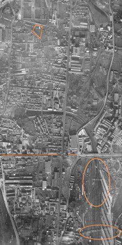 Photo aérienne 1943, le camp Oddo est devenu la gare du Canet. Depuis la fermeture de Oddo, le Kamp est habité
