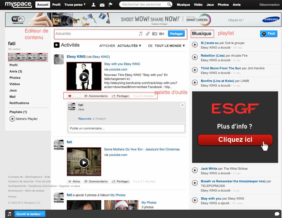 Fig.26. L'emplacement de la palette d'outils sur la page MySpace, 2012.