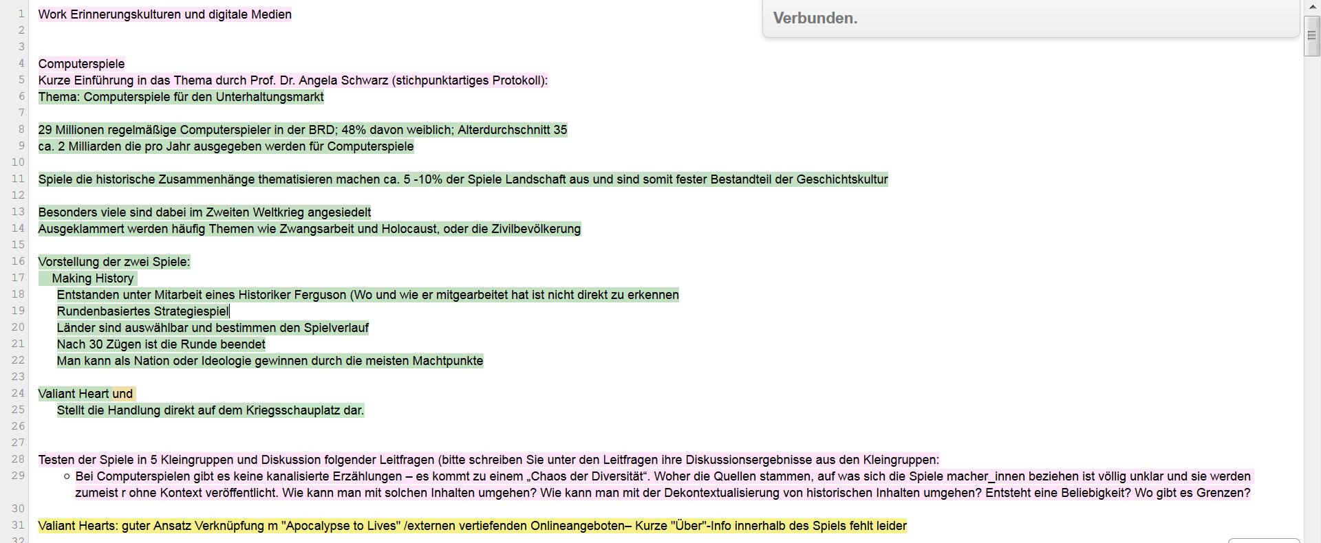 Screenshot Protokoll auf dem Etherpad (Plattform Your Part)