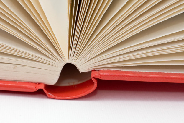 Hardcover book gutter and pages