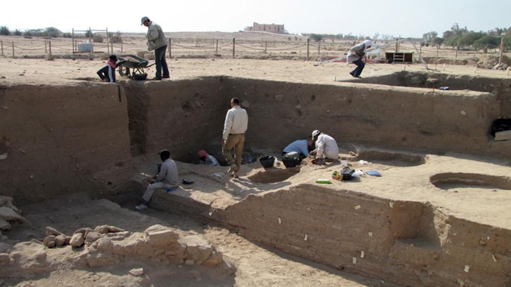 Fig. 2 : la fouille dans les niveaux du Bronze moyen entre le temple et le « Palais » sur le tell F6, par la Kuwaiti-Danish Archaeological Mission in Failaka (photo H. David-Cuny 2009)