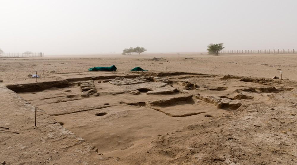 Fig. 4 : installations artisanales du début de l'époque islamique à Qurainiya, fouillées par la Kuwaiti-Italian Archaeological Mission (photo H. David-Cuny 2015)
