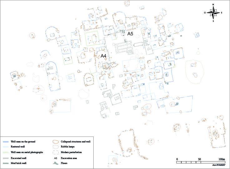 Fig. 1 : relevé des vestiges visibles en surface : parties centrale du site d'al-Quṣūr (relevé J. Humbert, MAFKF 2014)