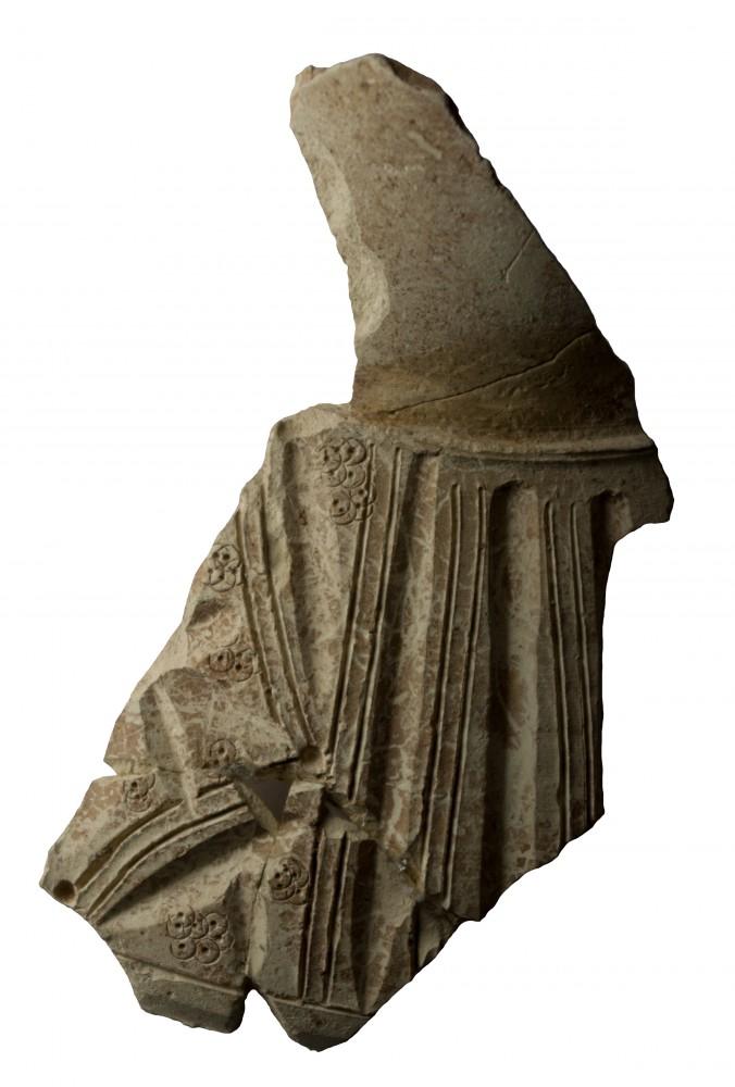 Fig. 1 : fragment de céramique à décor de motifs gougés et incisés et de motifs imprimés de cercles pointés (MAFKF 2011)
