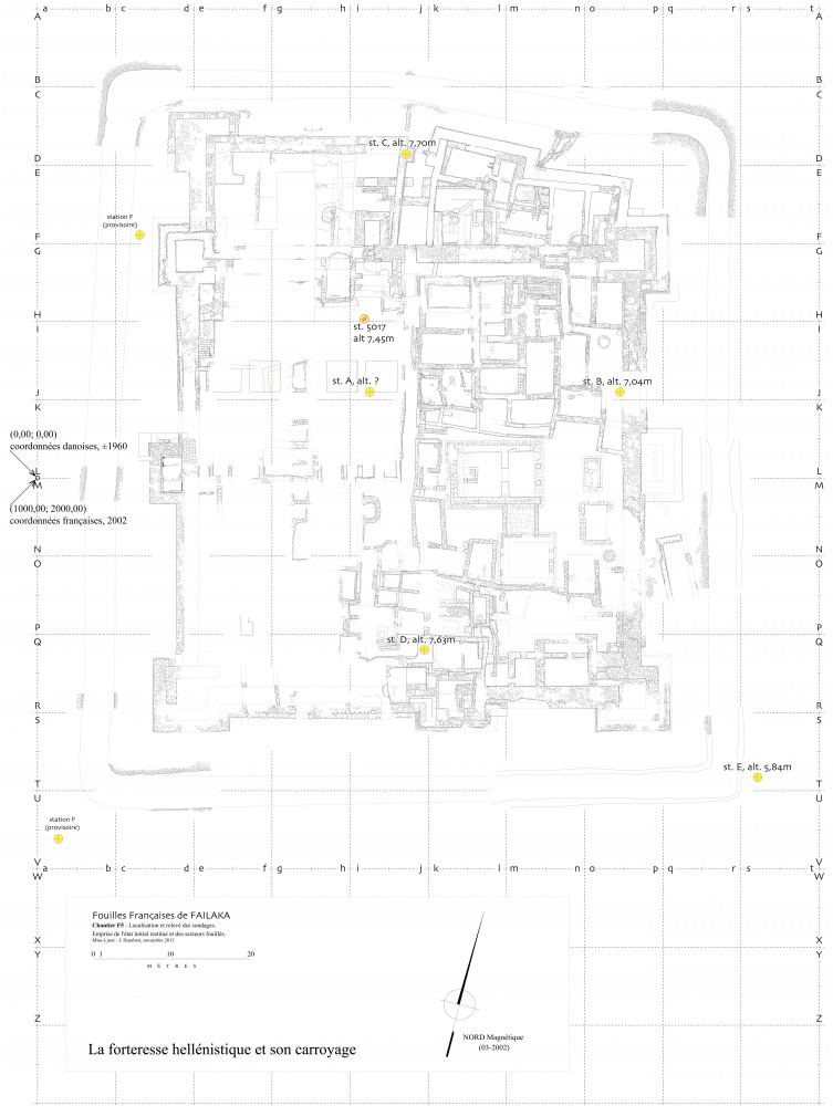 Fig. 1 : la forteresse hellénistique avec son carroyage, ses coordonnées et ses points fixes (MAFKF 2013)